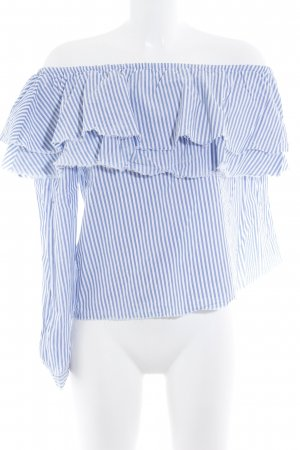 Zara Woman Ruffled Blouse white-cornflower blue striped pattern casual look