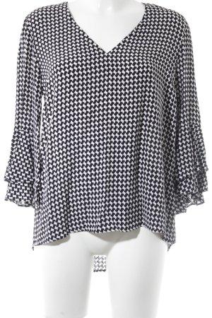 Zara Woman Rüschen-Bluse weiß-schwarz grafisches Muster Business-Look
