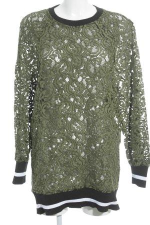 Zara Woman Rundhalspullover mehrfarbig Spitzen-Optik