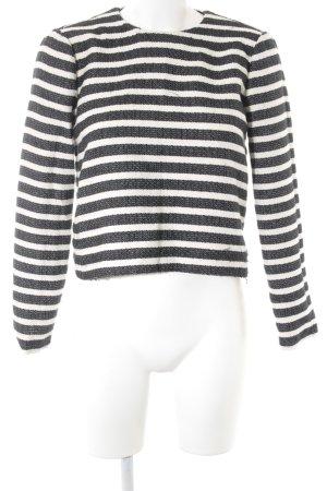 Zara Woman Rundhalspullover weiß-schwarz Streifenmuster Casual-Look