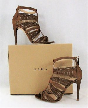 Zara Woman Strapped Sandals bronze-colored-silver-colored leather