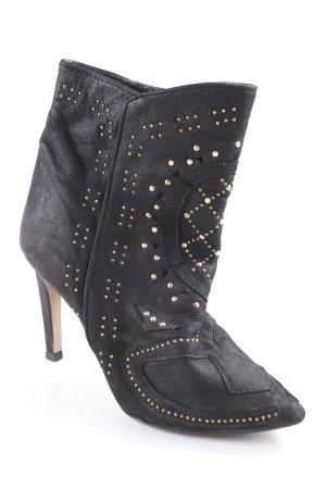 Zara Woman Schlüpf-Stiefeletten schwarz-goldfarben Elegant