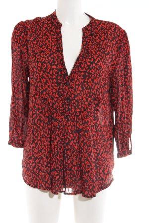Zara Woman Blusa caída negro-rojo estampado repetido sobre toda la superficie
