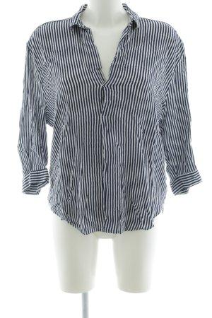 Zara Woman Blouse à enfiler noir-blanc motif rayé style d'affaires