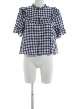 Zara Woman Schlupf-Bluse blau-weiß Vichykaromuster Casual-Look
