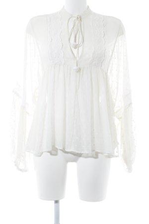 Zara Woman Schlupf-Bluse creme Romantik-Look