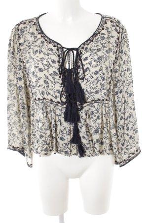 Zara Woman Schlupf-Bluse hellbeige-dunkelblau florales Muster Casual-Look