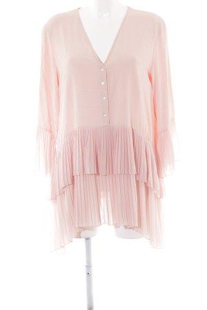 Zara Woman Schlupf-Bluse rosé Romantik-Look