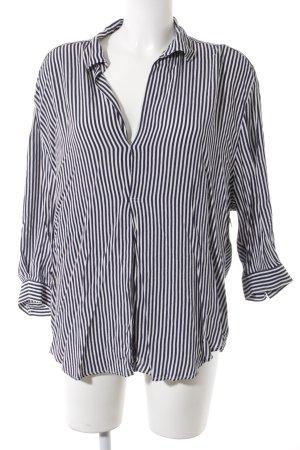 Zara Woman Schlupf-Bluse weiß-dunkelblau Nadelstreifen Business-Look