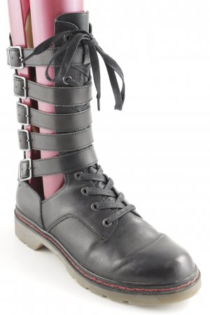 Zara Woman Lace-up Boots black-red punk style