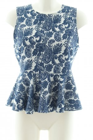 Zara Woman Peplum Top white-blue abstract pattern casual look