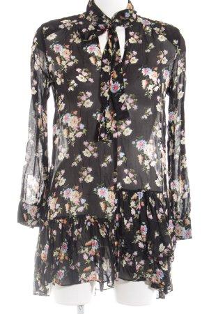 Zara Woman Schößchentop schwarz-wollweiß Blumenmuster Elegant