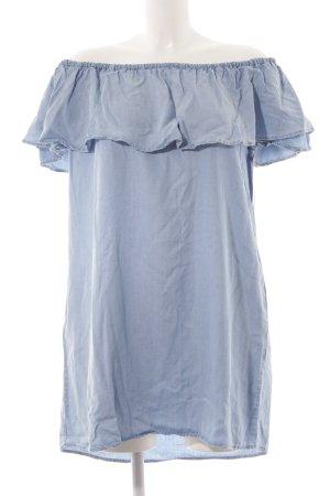 Zara Woman Robe épaules nues bleu azur Aspect de jeans