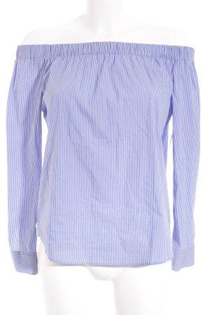 Zara Woman schulterfreies Top blau-weiß Streifenmuster Romantik-Look