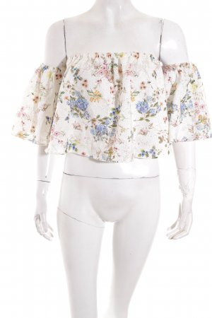 Zara Woman schulterfreies Top florales Muster Street-Fashion-Look
