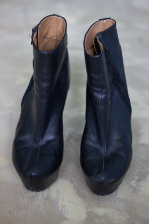 Zara Bottines à plateforme noir cuir