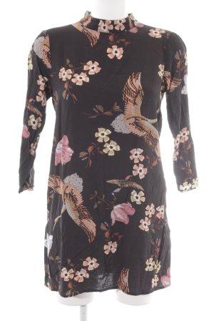 Zara Woman Robe t-shirt noir-abricot motif floral style classique
