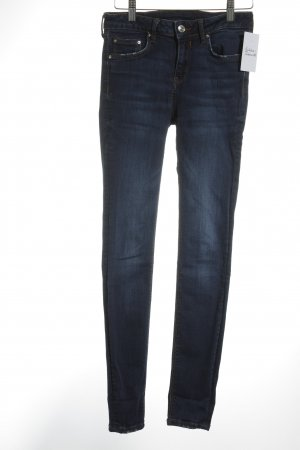 Zara Woman Skinny Jeans dunkelblau-weiß Urban-Look