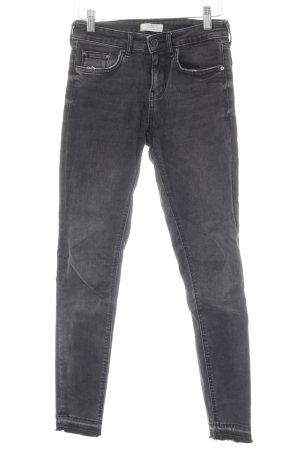 Zara Woman Skinny Jeans dunkelgrau Casual-Look