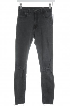 Zara Woman Skinny Jeans dunkelgrau Destroy-Optik