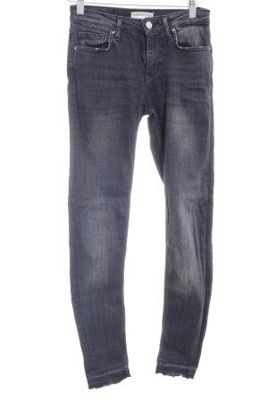 Zara Woman Skinny Jeans dunkelgrau-schwarz Washed-Optik