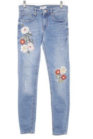 Zara Woman Skinny Jeans kornblumenblau Blumenmuster Casual-Look