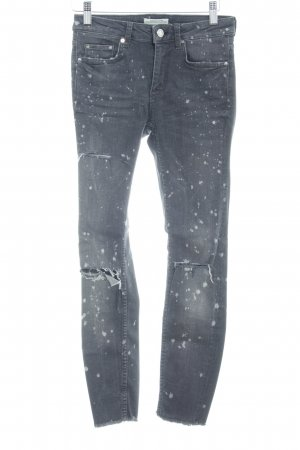 Zara Woman Skinny Jeans taupe Farbtupfermuster Casual-Look