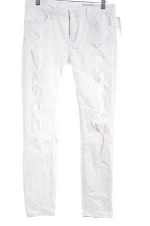 Zara Woman Skinny Jeans weiß Destroy-Optik