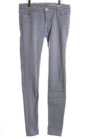 Zara Woman Slim Jeans blau-weiß Allover-Druck Casual-Look