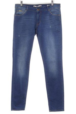 Zara Woman Slim Jeans blau Used-Optik