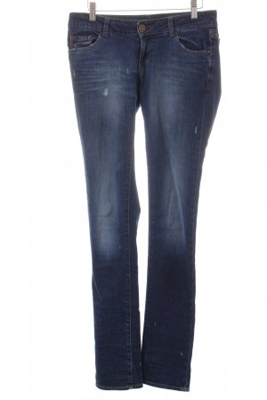 Zara Woman Slim Jeans dunkelblau Destroy-Optik
