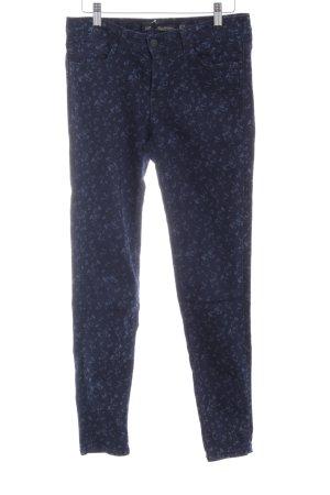 Zara Woman Slim jeans donkerblauw-staalblauw bloemenprint simpele stijl
