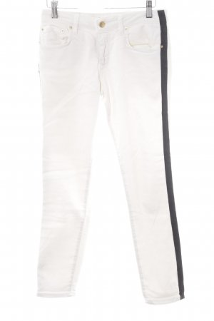 Zara Woman Slim Jeans wollweiß-schwarz Streifenmuster Casual-Look