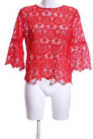 Zara Woman Lace Blouse red elegant
