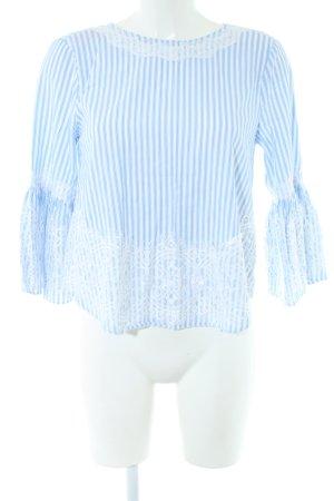 Zara Woman Spitzenbluse weiß-blau Streifenmuster Casual-Look