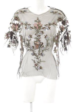 Zara Woman Spitzenbluse Blumenmuster Stickereiverzierung
