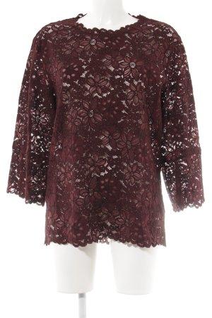 Zara Woman Spitzenbluse bordeauxrot-karminrot Blumenmuster Casual-Look