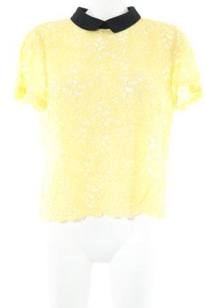 Zara Woman Spitzenbluse gelb-schwarz Romantik-Look