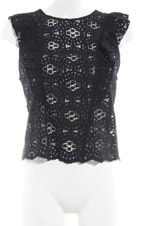 Zara Woman Spitzenbluse schwarz florales Muster Casual-Look