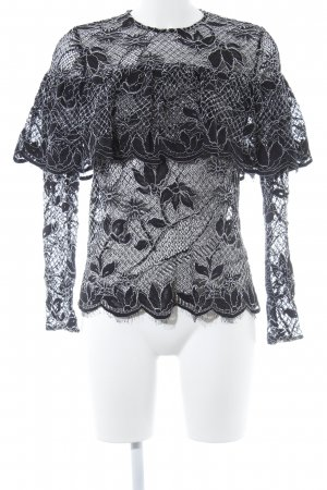 Zara Woman Spitzenbluse schwarz-weiß Spitzen-Optik