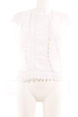 Zara Woman Spitzenbluse weiß Romantik-Look