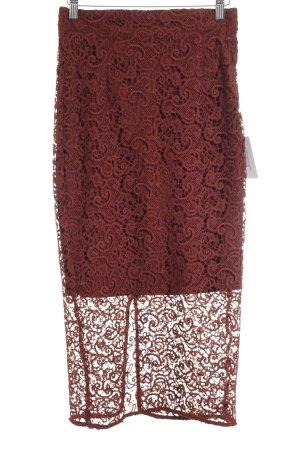 Zara Woman Spitzenrock dunkelrot Blumenmuster Romantik-Look