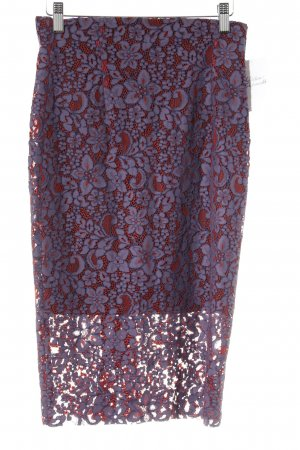 Zara Woman Lace Skirt grey lilac-red flower pattern extravagant style