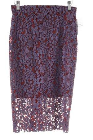 Zara Woman Spitzenrock graulila-rot Blumenmuster extravaganter Stil