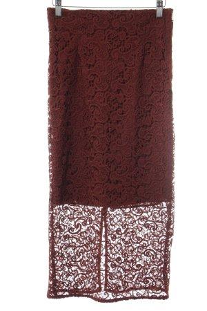 Zara Woman Spitzenrock rostrot Elegant