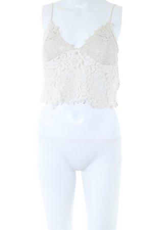 Zara Woman Haut en dentelle blanc cassé style décontracté