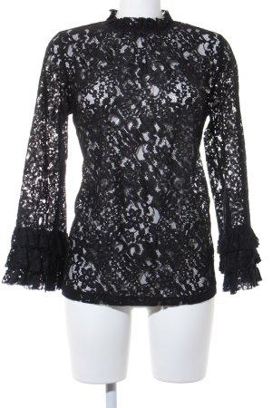 Zara Woman Spitzentop schwarz Elegant