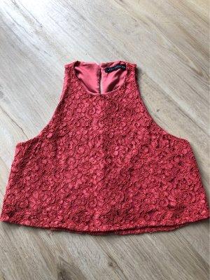 Zara Woman Top de encaje rojo-rojo oscuro