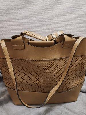 Zara Woman Spring Summer 12 echt Leder Shopper Tasche braun beige gross