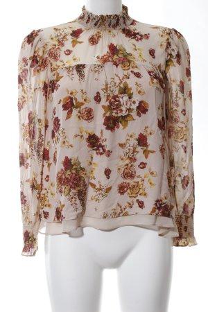 Zara Woman Blusa de cuello alto estampado floral look casual